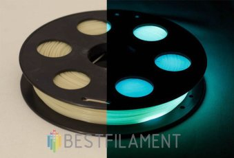Glow in the dark PLA plastic Bestfilament for 3D printers, color cyan, 0.5 kg (1.75 mm)